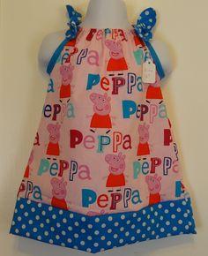 Peppa Pig Pink Girls Dress, Pillowcase Dress, Made to Order Sizes 6 months…