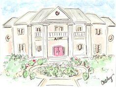 Georgia Southern University Alpha Omicron Pi House. by Acquerelli, $20.00