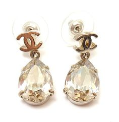 Chanel French Couture 2012 Collection Logo Crystal Teardrop Earrings