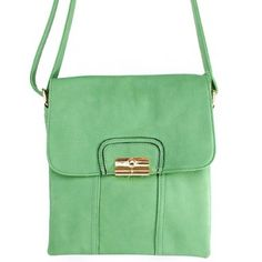 """Click Here and Buy it On Amazon.com $28.99 Amazon.com: New Arrival """"Designer Inspired"""" Unique Bifold Style Solid Messanger Bag / Crossbody Bag in Light Mint Green: Clothing"""