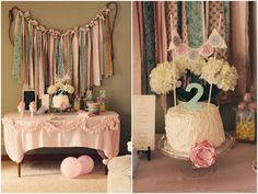 Love the ribbon backdrop. great for shower/birthday party/girls events