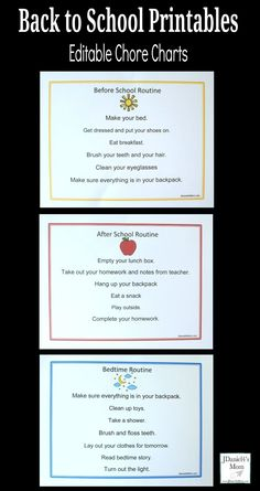 Back to School Printables -Editable Chore Charts #BacktoSchool #chorechars #editable     You can type any chores you want your children to do on them. Back To School Hacks, Back To School Gifts, Going Back To School, School Tips, School Ideas, Before School Routine, School Routines, Sight Words List, Reading Comprehension Worksheets