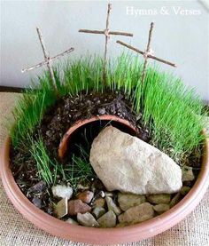This Easter craft is perfect for children. A resurrection garden teaches the Easter story and children love to watch the grass grow from seed.