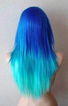 Blue wig. Electric blue / Teal / Mint blue Ombre wig. by kekeshop