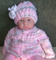 GIRL 2 PIECE SET; KNITTED & CROCHETED SWEATER & HAT; PINK,BEIGE; SZ 3 MONTHS