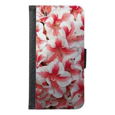 Red and White Azaleas Floral Wallet Phone Case For Samsung Galaxy S6 - diy cyo personalize design idea new special custom