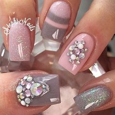 """Pink and grey! 💕 @glamandglitsnails pink """"1st impression"""" and grey """"dough a deer"""" custom mixed with """"private island"""" loving this combo! #nails#acrylicnails#nailsofinstagram#stephsnails#lodinails#flawlous#glamandglits#love#notpolish#nailpro#nailprodigy#stephset"""