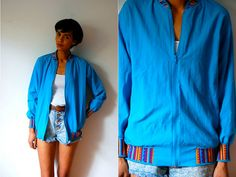 Vtg Colorful Tribal Trim Light Blue Zip Up by LuluTresors on Etsy, $27.99