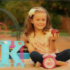 K is for Kindergarten.  Photo prop. Photography idea. Kids photography. (my daughter)