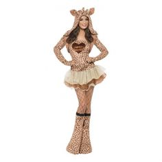 You'll look great dressed as a cute giraffe at your costume party! Features a tutu mini dress with a giraffe print top, a matching shoulder jacket with long sle Food Costumes, Adult Costumes, Costumes For Women, Giraffe Costume, Sweater Scarf, Pretty Shirts, Tutu, Looks Great, Formal Dresses