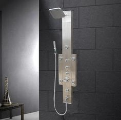 Features:  -Rainfall showerhead.  -6 Body massage jets.  -Handheld showerhead.  -Finish: Stainless steel.  -Manufacturer provides 1 year warranty.  -Faucet Control Type: Dual function. Dimensions:  -F