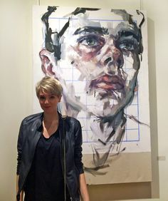 """Elly Smallwood with her piece """"Alistair"""" during the opening of YOU + ME at Navillus Gallery Art And Illustration, Portraits, Portrait Art, Artist Art, Artist At Work, Painting Inspiration, Art Inspo, Elly Smallwood, Art Sketches"""