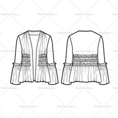 Fashion flat vector template Women's sketch of a ruffle detailed jacket with an open front. Rows of ruffles going across the body with shirring detail. All sketches are CADed up and all the