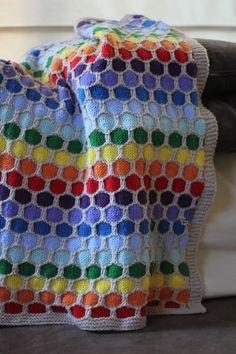Rainbow Honeycomb Blanket Free Knitting Pattern