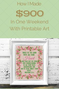 How I made $900 in one weekend selling printable art.