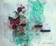 """Art journal page """"Roses"""" Rozhodla som sa dobehnúť   zameškané a doplniť   moje art journálové vpisy o chýbajúce témy.Aprílováart journalvýzva na ArtGrupa ATC ..."""