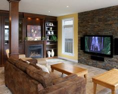 Traditional Stone Backsplash Design, Pictures, Remodel, Decor and Ideas - page 23    Could do without the yellow wall