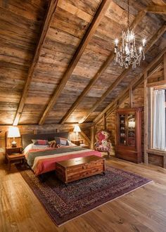 Vaulted glam in the cabin. Rustic Cabin Bedroom by Silver Maple Construction LLC Attic Renovation, Attic Remodel, Log Cabin Homes, Log Cabins, Log Cabin Bedrooms, Log Cabin Kitchens, Loft Bedrooms, Barn Homes, Cabin Interiors