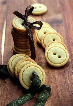 """Button cookies. You need a shortbread (butter cookie) recipe, two biscuit cutters (one slightly smaller than the other), and a drink stirrer (to make the holes)."""