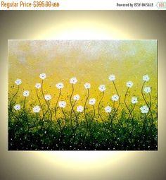 ORIGINALES flores margaritas blancas de pintura abstracto