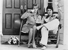 Paul and Linda have a cup of tea... barefoot!
