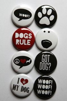 These are one inch flair buttons. There are 8 buttons in this set. Button Maker, Bottle Painting, Rock Painting, Diy Buttons, Pet Rocks, Dog Pin, Button Badge, Cute Pins, Pin And Patches