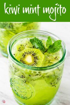 Kiwi Mint Mojito - Fresh Kiwi, Mint, and a hint of rum! Kiwi Mint Mojito - Fresh Kiwi, Mint, and a hint of rum! Refreshing Cocktails, Summer Drinks, Fun Drinks, Easy Cocktails, Summer Bbq, Kiwi Recipes, Vegan Recipes Easy, Juice Recipes, Fireball Recipes