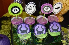 Purple and green cupcakes at a Maleficent birthday party! See more party planning ideas at CatchMyParty.com!