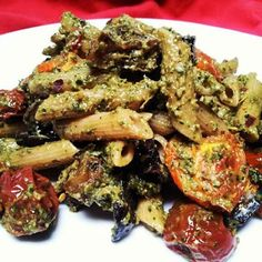 red or green?: Roasted Eggplant & Tomato Pasta with Spicy Carrot Top/Basil Pesto #summerfest  #foodnetwork