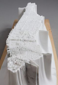Detailed replica of Manhattan carved out in a 2.5 tonne block of marble by the Japanese artist Yutaka Sone