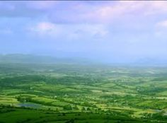 The beautiful rustic country of Ireland in all its glory. It is an ocean of green in the midst of a beautiful soft pink horizon.