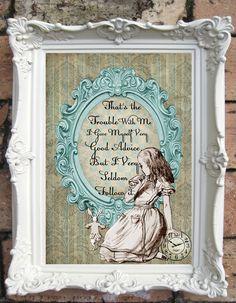 ALICE in Wonderland Quote Art Print on Handmade by OldStyleDesign, $15.00