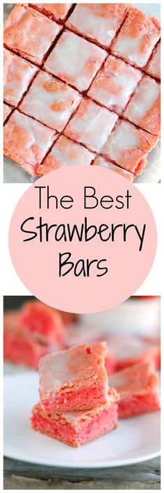 The Best Strawberry Bars are full of strawberry flavor and with only a few ingredients required (cake mix) you can make these in no time! http://www.foodlovinfamily.com/the-best-strawberry-bars/