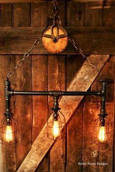 iron pipe lamp parts Pipe Lighting, Rustic Lighting, Industrial Lighting, Vintage Lighting, Edison Lampe, Lampe Tube, Diy Pipe, 3 Light Chandelier, Black Pipe