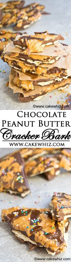 This sweet and salty CHOCOLATE PEANUT BUTTER CRACKER BARK is creamy yet crunchy! It's irresistible and really easy to make. Great for gift giving too! From cakewhiz.com #spreadthemagic {ad}