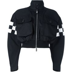 Dsquared2 Checkerboard Bomber Jacket ($1,195) ❤ liked on Polyvore featuring outerwear, jackets, bomber jackets, padded jacket, checkered jacket, zip bomber jacket and blouson jacket