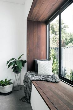 This modern bedroom has a wood framed window seat that overlooks the garden. Add cushions to turn into a window seat couch. Floor Seating, Lounge Seating, Garden Seating, Outdoor Seating, Small Living Rooms, Living Room Decor, Corner Seating, Restaurant Seating, Modern Restaurant