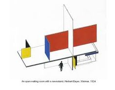 Herbert Bayer. Proposed streetcar station and newsstand. 1924. A concise modular unit, designed for economical mass production, combines an open waiting area, newsstand, and rooftop advertising panels.