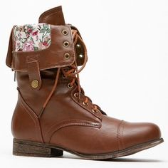 Brown Lace-Up Combat Boots with Floral inside Only worn once! Will be very cute for spring. Can be worn folded down with floral showing, or laced all the way up ! Bamboo Shoes Combat & Moto Boots