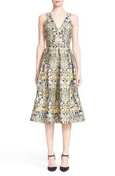 ERDEM 'Fabrizia' Floral Jacquard V-Neck Dress. #erdem #cloth #