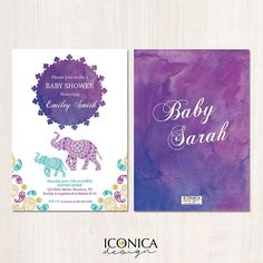 Moroccan Baby Shower Invitation Watercolor Sunset Elephant