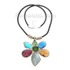 Wholesale Fashion Jewelry Necklace Multicolor Flower Pendants Black Leatheroid Rope – 8seasons.com