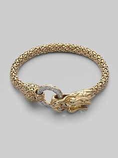 John Hardy Diamond & Gold Dragon Bracelet the naga collection! my new obsession Mens Gold Bracelets, Diamond Bracelets, Fashion Bracelets, Jewelry Bracelets, Bangles, Dragon Bracelet, Dragon Jewelry, Modern Jewelry, Gold Jewelry