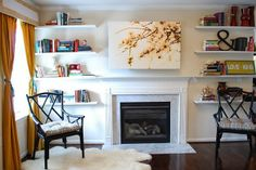 mantel and bookshelf styling