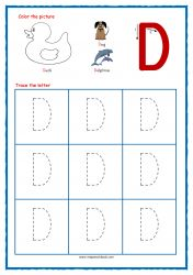 Tracing Letters - Letter Tracing Worksheets - Capital D - Free Preschool Printables Free Printable Alphabet Worksheets, Alphabet Writing Worksheets, Letter Worksheets For Preschool, Abc Worksheets, Letter Tracing Worksheets, Alphabet Tracing, Learning Letters, Free Preschool, Preschool Printables