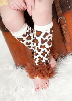 Leg warmers, leg warmers for baby girls, toddlers and girls in leopard animal print and brown ruffles.