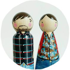 CUSTOM 3 1/2 peg couple // personalized peg couple by PegandPlum
