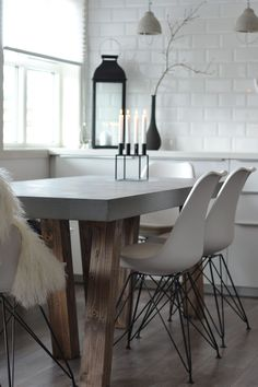 How to make a concrete dining table. Concrete Dining Table, Brown Wood, Plank, Interior Inspiration, Pure Products, Chair, How To Make, Furniture, Home Decor