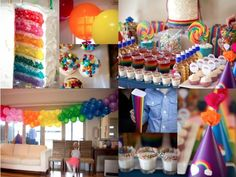 Rainbow decor by Melanie Blodgett ( I really want a balloon banner for the next party...)