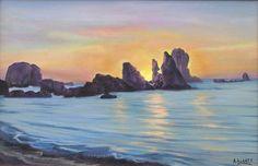 """423. """"Playa del Silencio"""" Óleo sobre lienzo de 27 x 33"""